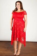 Ladies Red Lace Hankerchief HemDress Plus Size Curvy UK Size 16 18 20 22 24