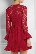 $3675 Dolce & Gabbana AUTH NWT Feminine Ruffled Cuffs Hem Mini Dress 44 Red Lace