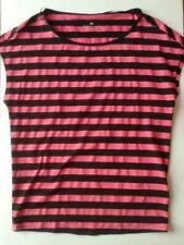 Adidas Climalite Womens Top Activewear Stripes Sleeveless Pink Black Size XS