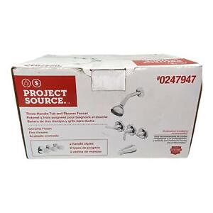 Project Source 3 Handle Tub and Shower Faucet with Polished Chrome finish