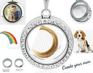 Lock of Hair Fur Photo etc MEMORIAL LOCKET Necklace Pendant Keepsake Jewellery