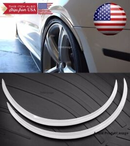 """1 Pair White 1"""" Flexible Arch Extension Wide Fender Flares Lip Guard For Chevy"""