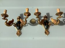 Pair french bronze empire 2 Swan figurine wall lights sconces 1960s