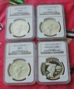 Lot of 4 - 1983 MS69(3) & PF69 Ultra Cameo Olympics silver commemoratives-NGC