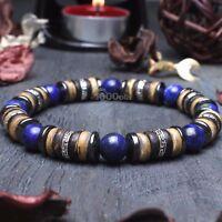 New Mode Bracelet Homme/Femme perles pierre gemme Bois Cocotier/Coco Hématite
