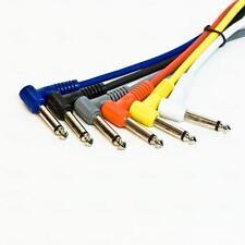 """Titan AV 30cm Guitar Effects Pedal Link Patch Leads 90 Deg 1/4"""" Jack 6 pcs Cable"""