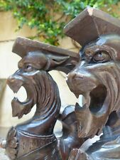 19TH PAIR Carved Wood Griffin Gargoyle Gothic Figures Supports Cabinetry Console