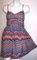 ROXY Dress S Silky Boho Hippie Chevron Print A-Line Mini Sundress