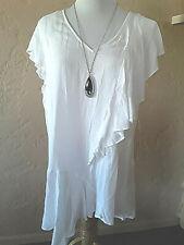 Vintage America White Blouse L Cap Sleeve V-neck  NWT  *u1