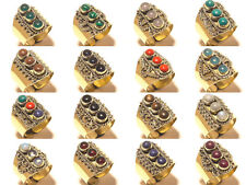 10PCS Wholesale Lot Coral Mix Gemstone 925 Tibetan Silver Brass Rings Jewelry