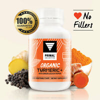 Organic Turmeric Plus with Ginger & Black Pepper 120 Capsules, Vegan.