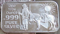1980 MINER MULE FROSTED NEVADA COIN MART NCM-1 ART BAR .999 SILVER 1 TROY OZ
