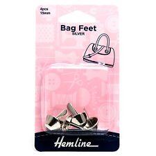 HEMLINE BAG & PURSE FEET FLAT BOTTOM HANDBAG STUDS 4 PIECES SILVER  15mm BNEW
