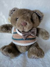 "Russ Berrie Vintage Teddy Bear Oxford Brown Bow Tie Sweater 9"" Stuffed Animal"