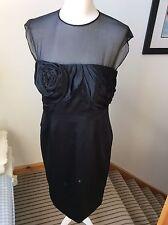 KAREN MILLEN Black Silk Sleeveless Dress Size 14 Wedding Guest Party LBD