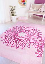 Design Teppich Webteppich Pink rosa Sonne Motiv Kontur Flachgewebe pflegeleicht