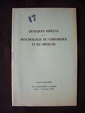 Quelques aspects de la psychologie du chirurgien et du médecin