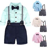 Newborn Baby Boy Gentleman Romper Shirt Tops Bib Shorts Pants Set Outfit Clothes
