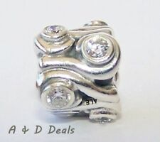Pandora Genuine Sterling Silver Ocean Wave with Cubic Zirconia #790369CZ RETIRED