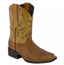 Mens Carved Floral Square Toe Mid Knight Boots Retro Low Heel Cowboy Shoes Hu219