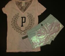 Victoria's Secret PINK S T-SHIRT+2 SHORTS sequined PINK lace BLUE jean boyshorts