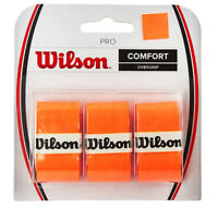 Wilson Tennis Pro Overgrip 3 Pack Orange Comfort Badminton Tape Racket WRZ470820