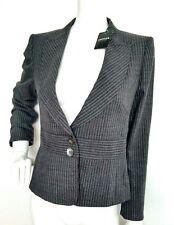 Designer JAEGER wool blazer jacket size 14 --BRAND NEW-- grey pinstripe