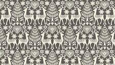 Fat Quarter Scandinavian 3 Reindeer Grey Christmas 100% Cotton Quilting Fabric