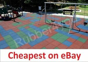 """BEST CHEAPEST Playground Rubber Safety Tile Mats 50cm x 50cm x 1"""" thk"""