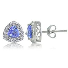 Sterling Silver Tanzanite & White Topaz Trillion-Cut Stud Earrings