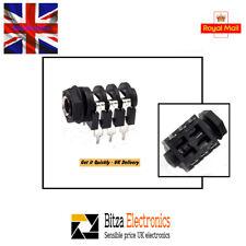 """Quality 6.35mm(1/4"""") 6Pin Female Stereo Jack Socket Panel PCB - UK Seller"""