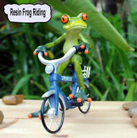 1pc Green Frog Figurine Resin Gift Character Frog Riding a Bicycle Gnomes Statue