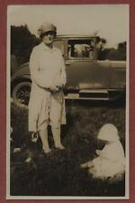 Lady & vintage car child from 'Smithard' collection. Leicester   qp1070