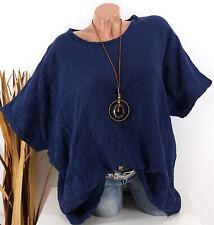 Tunika Oversize Bluse Shirt Stickerei Leinen Look Kette blau 44 46 48 50 52