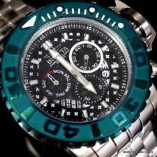 Invicta Sea Hunter II 70mm Black Chronograph Green Swiss Mvt Steel Watch New