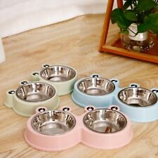 New Double Bowl Dog Food Feeder Stainless Steel Pet Drinking Feeder Pet Supplies