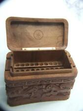 Antique Chinese Cigarette Box Carved Wood Designed  w Dragons
