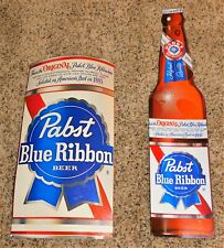 Pair Of 1960s Pabst Beer Large Cardboard Can & Bottle Sign Wow Store Displays?