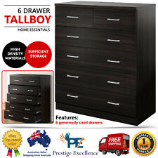 Tallboy Dresser 6 Chest of Drawers Storage Table Cabinet Bedroom Bathroom Walnut