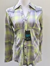 Rock 47 Wrangler Limegray Southwestern Embellished Cotton Tunic Top Med
