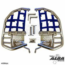 Honda TRX 400EX 400X  Nerf Bars  Pro Peg Heel Gaurds  Alba Racing  Silver Blue