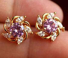 18K Yellow Gold Filled- Windmill Pink Topaz Gemstone Women Stud Party Earrings
