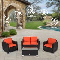 4PC Outdoor Patio Sofa Sectional Furniture Set PE Wicker Cushioned Lawn, Orange