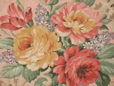 VTG DAISY KINGDOM GRANNIES ROSES PINK COTTAGE FLORAL SCROLL COTTON FABRIC 1997