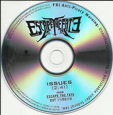 ESCAPE THE FATE Issues TST PRESS PROMO DJ CD Single