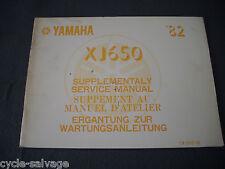 Yamaha XJ 650 1982 Wartungsanleitung Ergänzung Supplement Service Manual