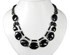 Bella De Diseño Collar de Ónix y Piedras Estrás