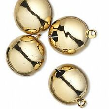 """Jingle Bells Christmas Holiday Craft Jewelry 25mm 1"""" Gold Tone Brass Lot of 4"""