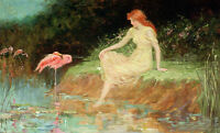 Dream-art Oil painting NICE young girl seated by the pond birds cranes Flamingo