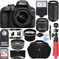 Nikon D3400 DSLR Camera + 18-55mm VR and 70-300mm Lens Bundle (Black)